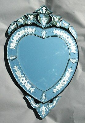 "30.25"" x 18.5"" small heart shape Clear Venetian Art Deco Mirror Wall Decor"