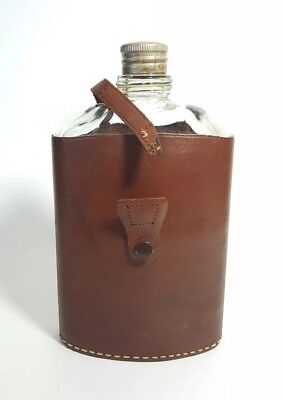 Rumpp VTG Leather Glass Flask Brown Free Shipping