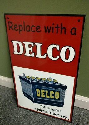 Delco Battery gas oil gadoline sign large GM