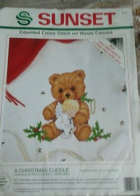 Sunset A Christmas Cuddle Counted Cross Stitch On Waste Canvas Bear And Angel