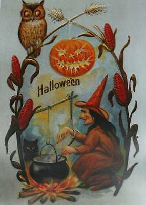 Vintage Art Halloween, Jack o Lantern, Witch Owl