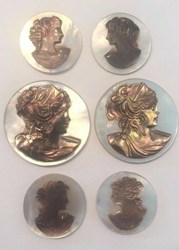 Antique Vintage Mother of Pearl Cameo Jewelry Lot of 6  (size=mixed)