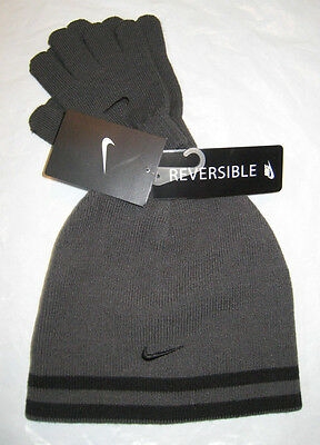 7778ded75a2aa Nike Hat and Gloves Reversible Boy s Youth 8-20 Gray Black Anthracite New  NWT