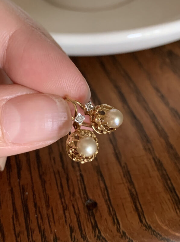 FRENCH Antique 18k GOLD Pearl Rose Cut DIAMOND Victorian Earrings Belle Epoque