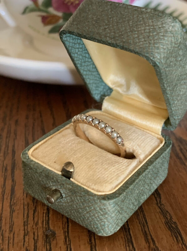 Antique 10k Rose GOLD Art Nouveau 10 PEARL Half Hoop Ring Skinny Wedding Band
