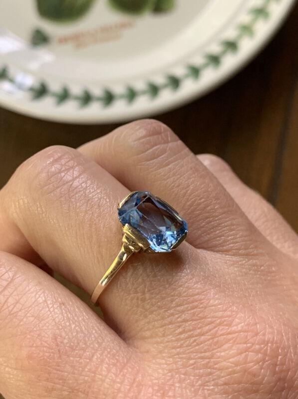 14k GOLD Art Deco Aqua Blue Spinel Stacker Band Geometric Shoulder Emerald Cut?