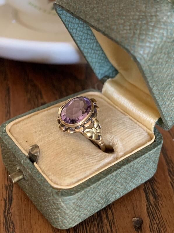 Antique AMETHYST 10k Colored Rose GOLD Ribbon Bow Ring Antique Oval Art Nouveau