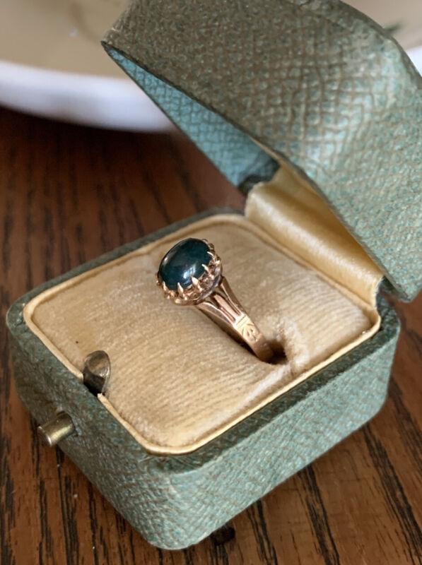 VICTORIAN Antique BLOODSTONE Ring 14k Rose GOLD Ornate Crown Prongs Art Nouveau