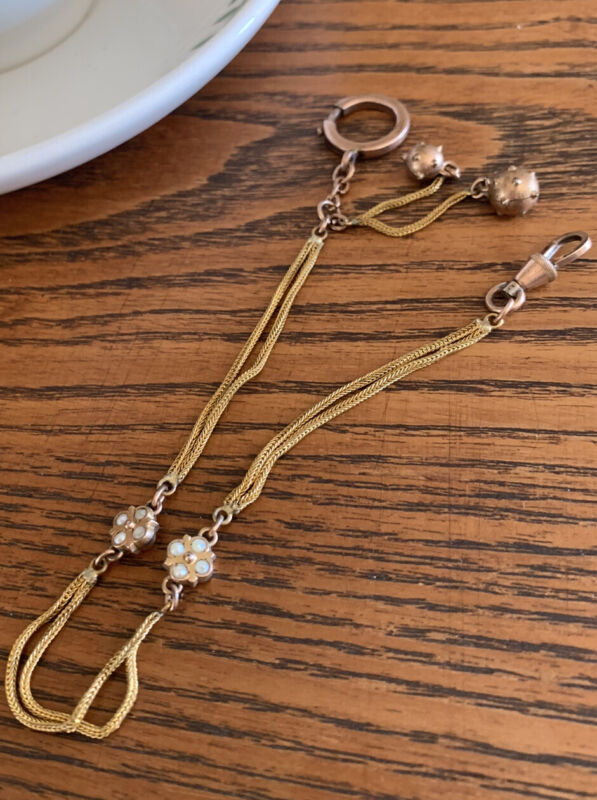 PEARLS French Gold Fil Belle Epoque Watch Chain Necklace Bracelet XL Spring Ring