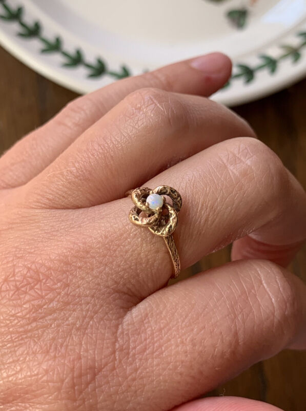 Antique OPAL 14k GOLD Love Knot Ring Stacker Art Nouveau Sweet Stacking Romantic