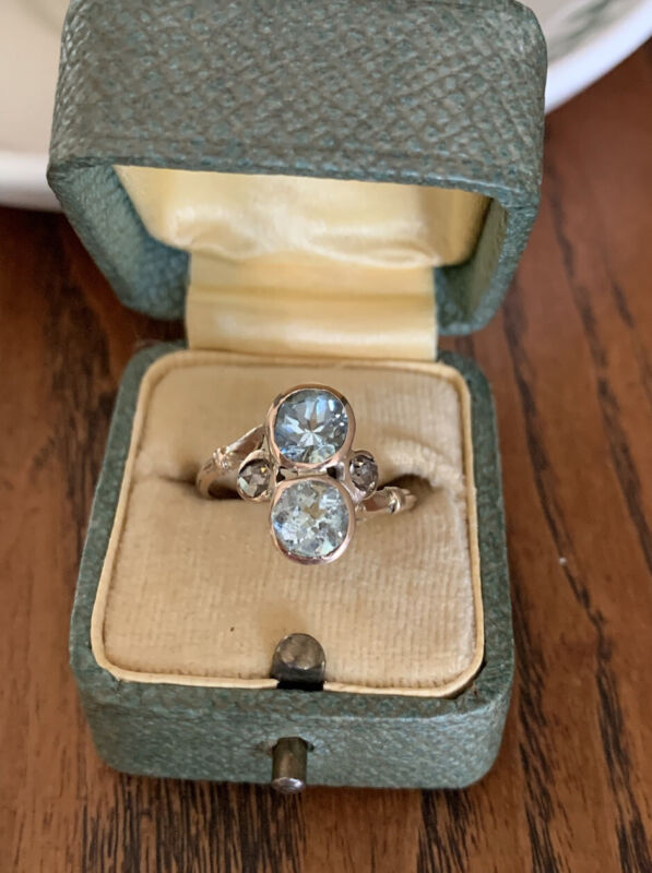 Antique 2 Large Blue AQUAMARINE 10k Gold Rose Cut DIAMOND Toi Et Moi RING Chunky