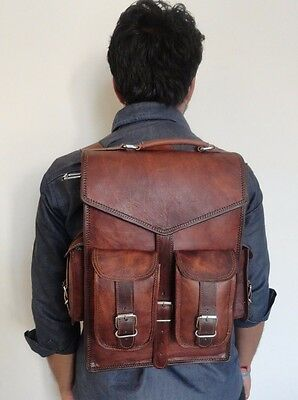 Real genuine leather Men's Backpack Bag laptop Satchel briefcase Brown Vintage