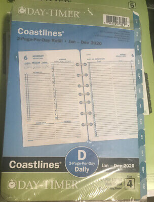 Day-timer 2020 Coastlines Daily Planner Refill 2 Pages Per Day Size 4 13180