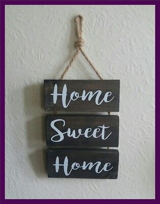 home sweet home hanging plaque with jute string
