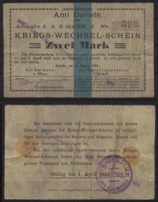 [18615] - Notgeld DATTELN, Amt, 2 Mark, 13.08.1914, Dießner 74.2a - mit rückseit