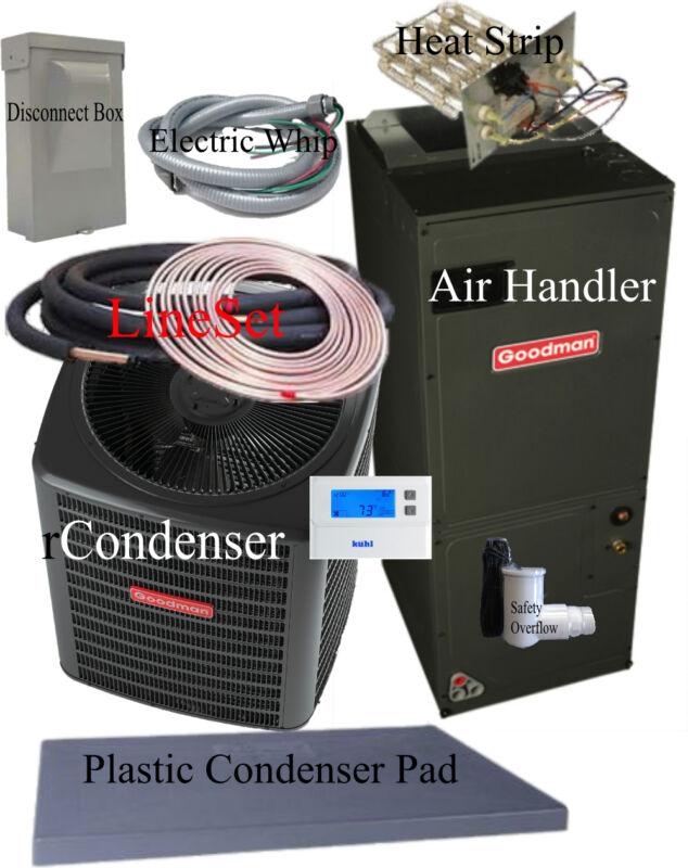 3.5 Ton 15 Seer Goodman Heat Pump Gsz140421+aspt47d14 +25ft Line Set Install Pkg