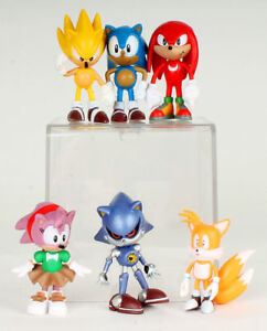 Sonic the Hedgehog Classic 6 Figures Set: Super Amy Metal Sonic Tails Knuckles