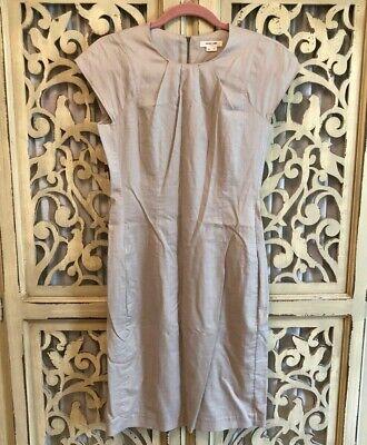 Sz 4 Helmut Lang Cap Sleeve Cotton & Wool Dress with Pockets - beige