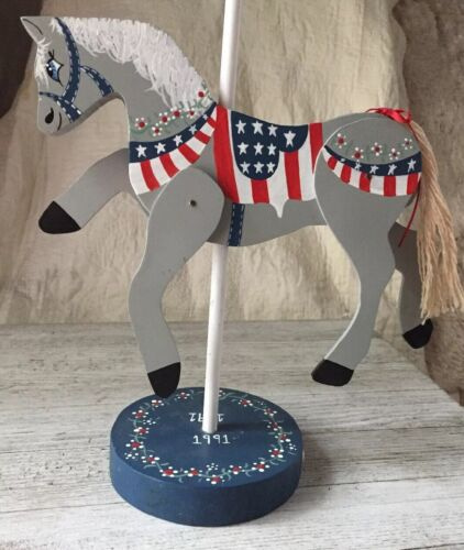 Patriotic Wooden Horse Carousel With Movable Legs Free Shipping In The US