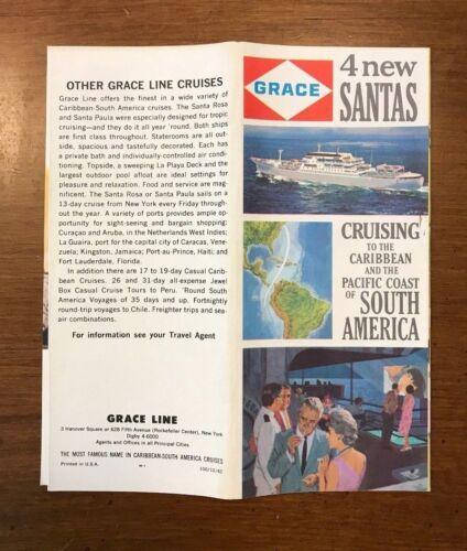 1962 Grace Line Brochure & Deck Plans - Caribbean & South America