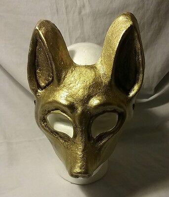 Jackal Halloween Mask (Gold Jackal mask, masquerade, mardi gras, carnival, venetian)