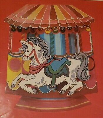 3 Vtg Gibson Pakay Party Papers Carnival Carrousel Pop-Up Complete Centerpiece ](Vintage Carnival Decorations)