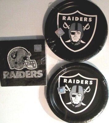 OAKLAND RAIDERS NFL FOOTBALL CEG Party Supplies w/ Plates & Napkins NEW ! - Oakland Raiders Party Supplies