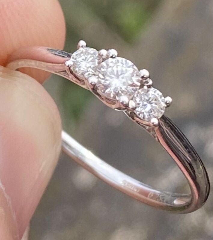 100% Genuine Diamond Trilogy 9k White Gold Ring ~ Natural Sparkling Diamonds! 💎
