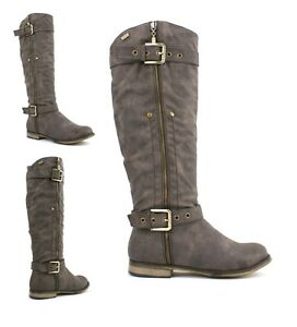LADIES-WOMENS-BNIB-RIDING-BIKER-ZIP-PULL-ON-BIKER-FLAT-BOOTS-SHOES-SHOE-SIZE