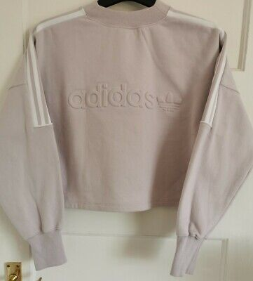 ADIDAS LILAC CROP JUMPER SIZE SMALL 8 VINTAGE STYLE SPORT WOMENS SWEATER