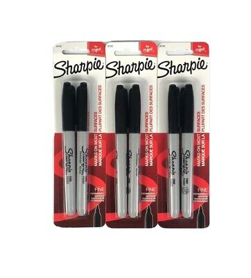 Sharpie Fine Point Permanent Markers Black Lot Of 3 2-packs 6 Pens Total 30162