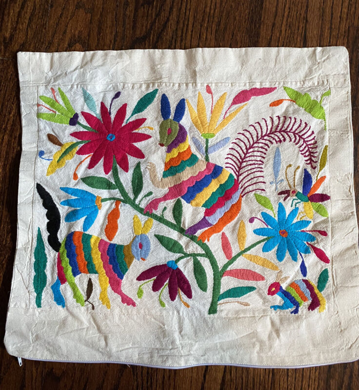 Mexican Otomi Embroidered Pillow Cushion Case Cover