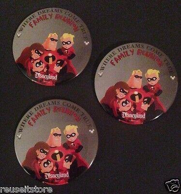 Disney Theme Parks Disneyland Button Family Reunion Pin-back Lot 3 INCREDIBLES - Family Reunion Themes