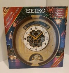 2019 Seiko Melodies in Motion Musical Wall Clock Animated Swarovski Crystals NEW
