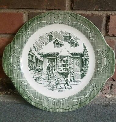 The Old Curiosity Shop White and Green Serving Plate Royal China Toile