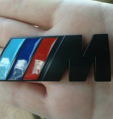 (For BMW M Power Car Emblem Black Badge Decal  3D Metal (Medium) Fast Shipping )