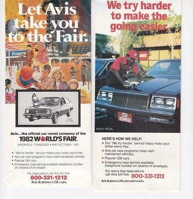 2  Lot Avis Car Rental Brochures One A Vintage 1982 Worlds Fair     Q5