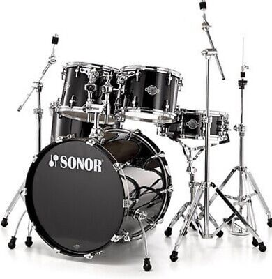 Sonor Drum Set Select Force Stage 3 5-Piece Shell Pack, Piano Black + 6 Pr VATER
