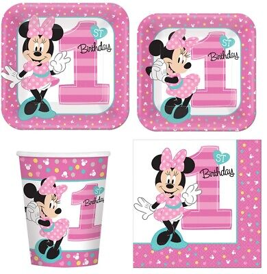 Minnie Mouse 1st Birthday Tableware Combo for 8 Guests (Plates Cups - Minnie Mouse Napkins