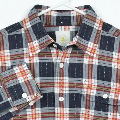 GANT Michael Bastian Men's Large Navy Blue Red Plaid Half Button-Front Shirt