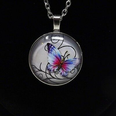 Butterfly Mystical Cabochon Silver Plated Glass Chain Pendant Necklace