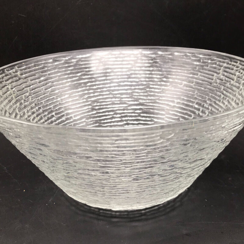 Vtg MCM Anchor Hocking Soreno Clear Glass Salad Punch Chip BOWL Bark Textured