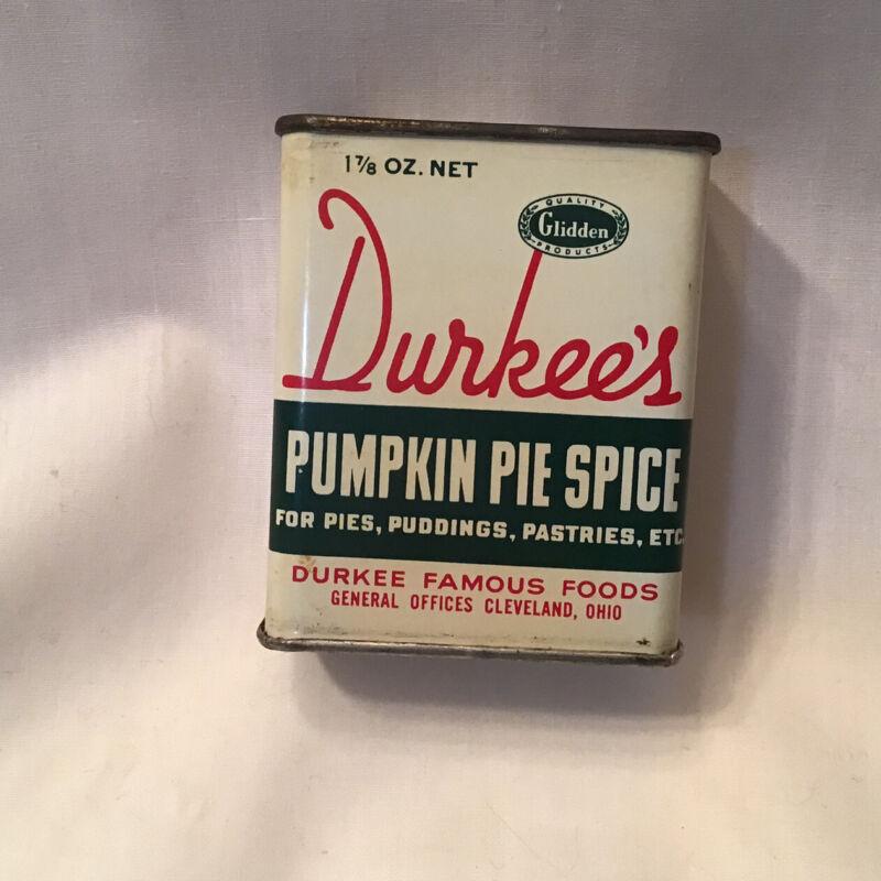 Durkees Pumpkin Pie Spice Tin Metal Vintage Glidden Fall Kitchen Decor