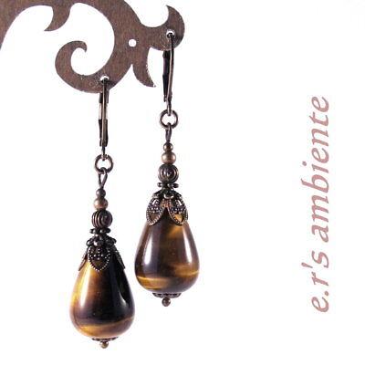 Ohrringe mit TIGERAUGE-Tränen, Bronze-Vintage-Look, Ohrhänger, 0776