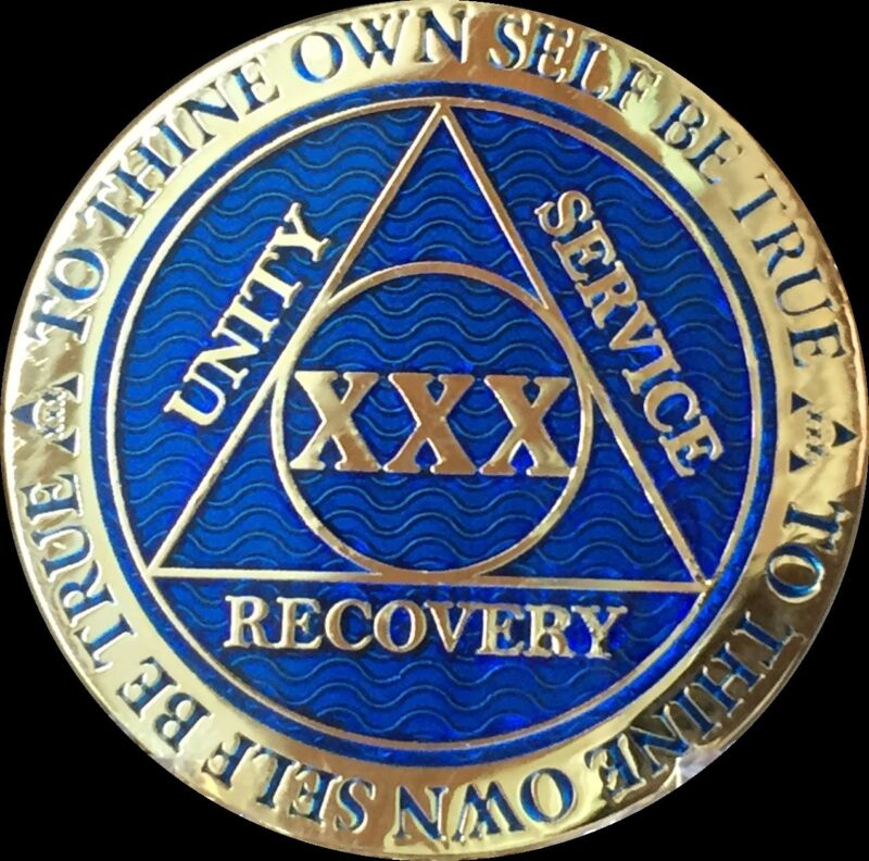 30 Year AA Medallion Blue Gold Plated Alcoholics Anonymous Sobriety Chip Coin