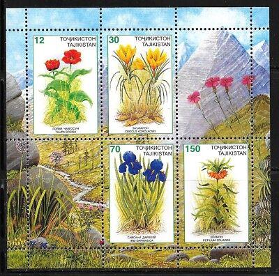 TAJIKISTAN SC 124a NH issue of 1998 Flowers - minisheet
