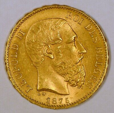 1875 Belgium 20 Francs Gold Coin for Leopold II