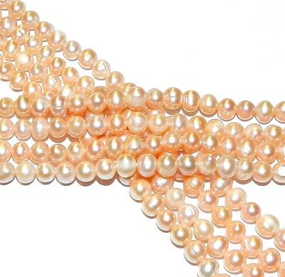 """NP249 Light Pink 7mm -8mm Semi- Round Cultured Freshwater Potato Pearl Beads 14"""""""