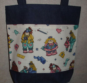 NEW Handmade Medical Dolly Nurse Dr Large Denim Tote Bag Gift