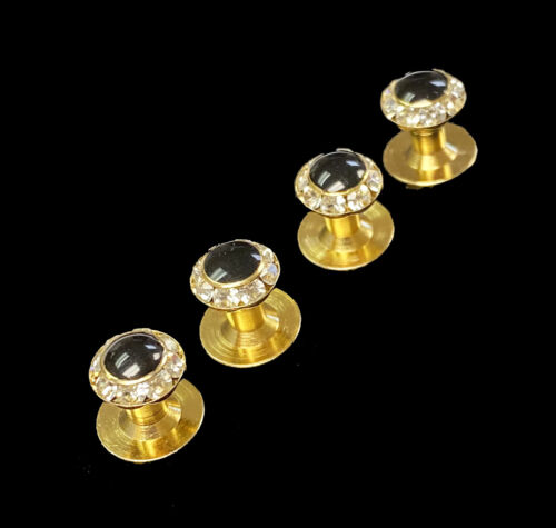 Black & Gold Tuxedo Studs with Faux Crystals Diamonds Groom Mason Wedding Prom